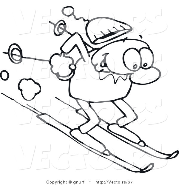 Vector Line Drawing of a Happy Man Winter Skiing down a Steep Slope