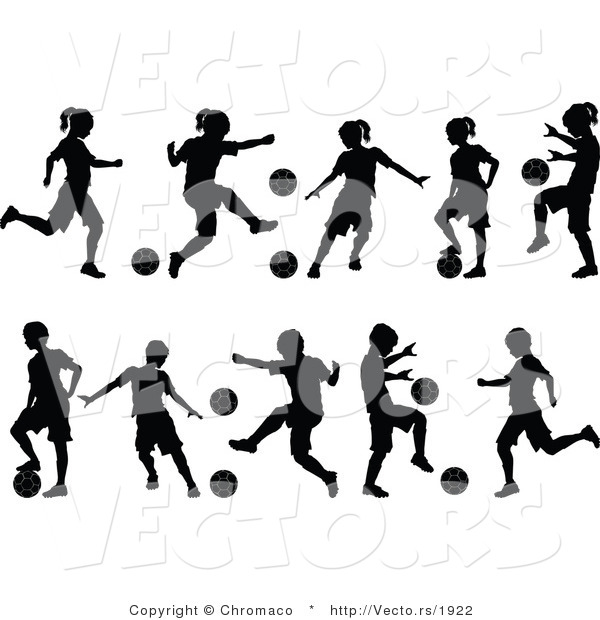 Vector of 10 Unique Silhouetted Boys and Girls Playing Soccer Ball