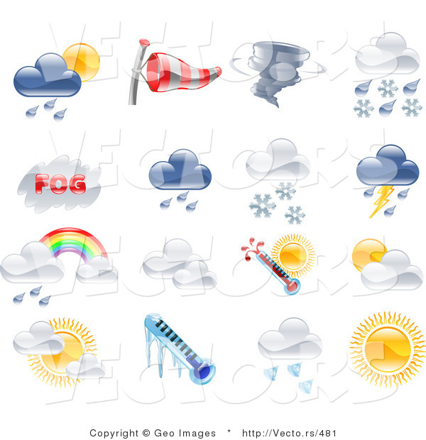 Vector of 16 Unique Weather Icons