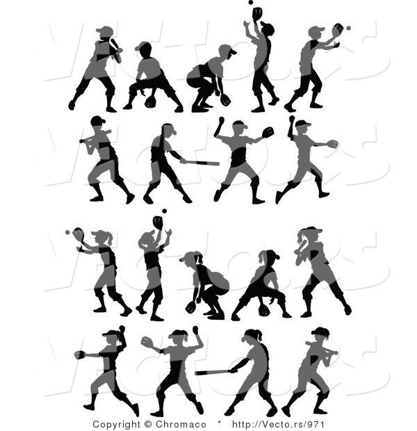 Vector of 18 Unique Boys and Girls Playing Baseball and Softball - Silhouette