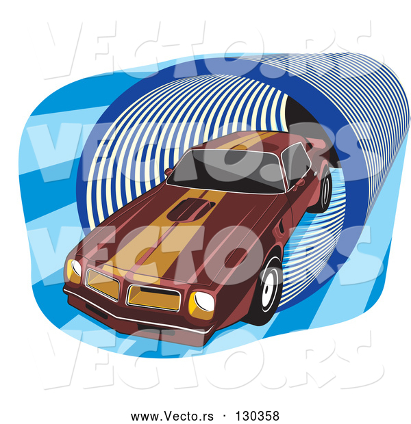 Vector of 1977 Dark Red Pontiac Trans Am with Orange Racing Stripes on the Roof and Hood, Driving Through a Blue Tunnel