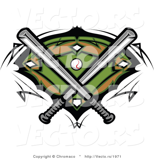 Vector of 2 Baseball Bats Crossed over a Field and Ball