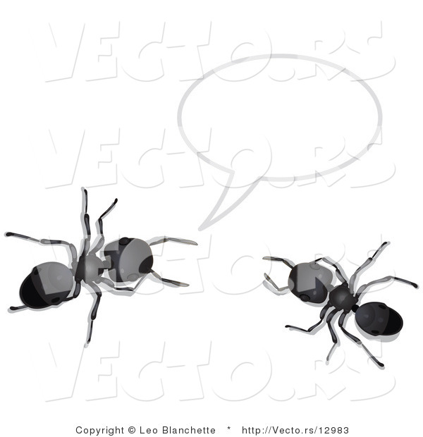 Vector of 2 Black Ants Talking Under a Text Bubble