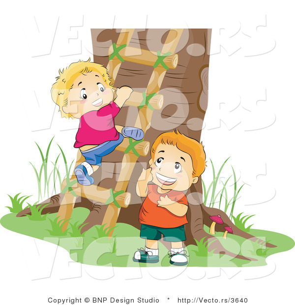 Vector of 2 Boys Climbing a Ladder to a Tree House