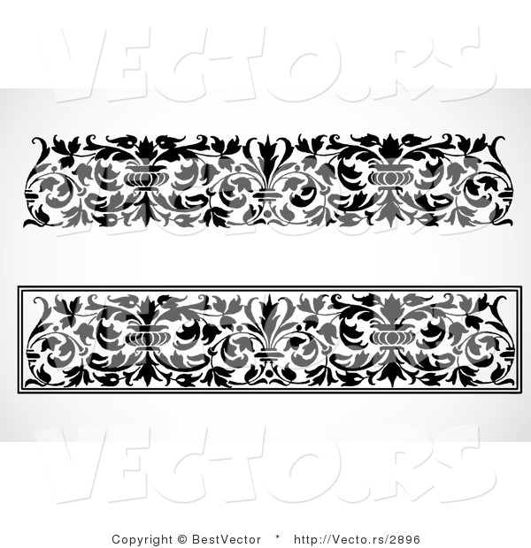 Vector of 2 Unique Black and White Vase and Vines - Digital Collage Border Elements