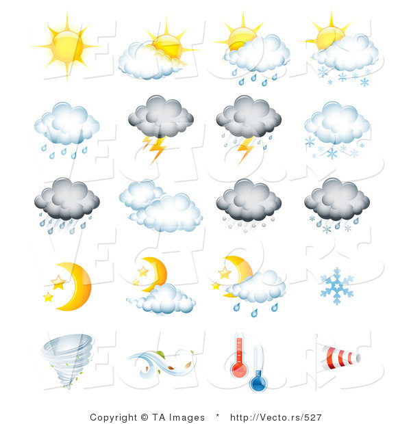 Vector of 20 Weather Related Forecast Icons