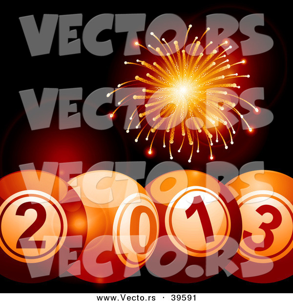Vector of 2013 Bingo Balls Below with Orange Fireworks Exploding in the Background