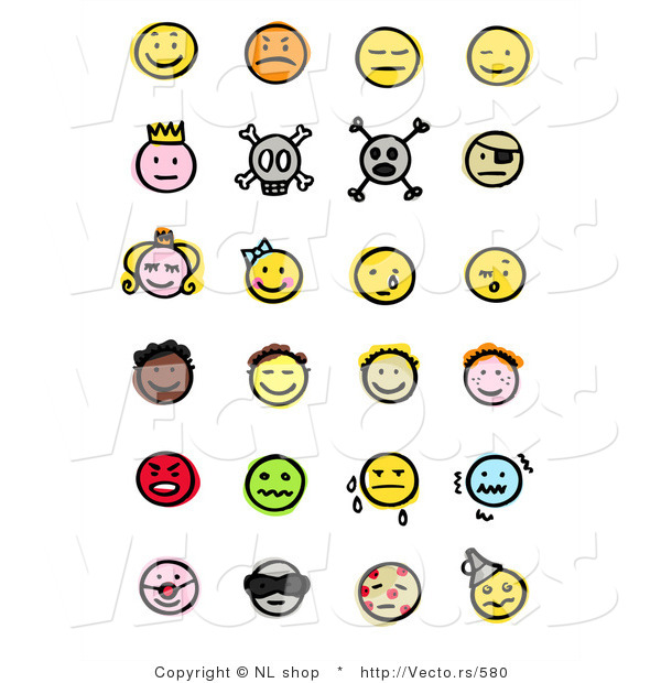 : Vector of 24 Smileys; Happy, Mad, Depressed, Royal, Skull, Pirate, Children, Crying, and Sick
