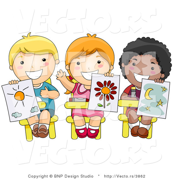 Vector of 3 Happy Diverse School Kids Holding up Their Drawings in Art Class