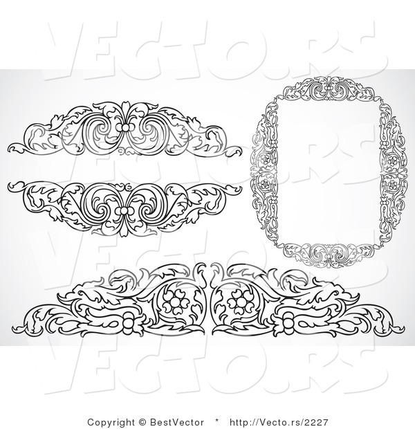 Vector of 3 Leafy Border Frames, Headers and Text Boxes - Black and White Digital Collage