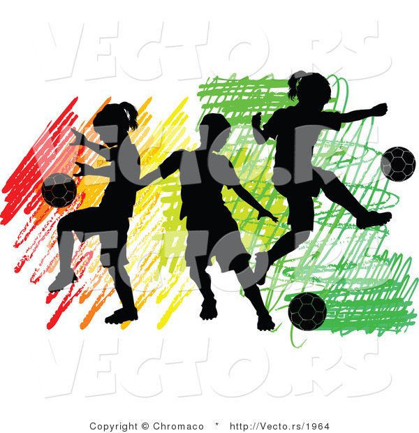 Vector of 3 Silhouetted Children Playing Soccer Ball over Colorful Scribbles