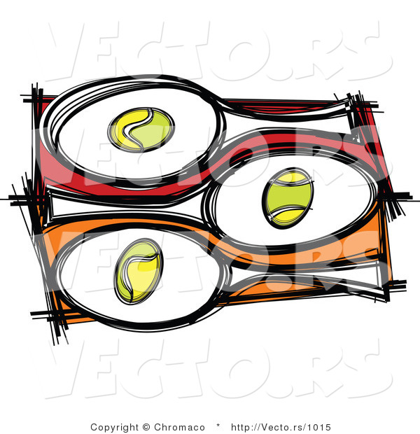: Vector of 3 Tennis Balls and Rackets