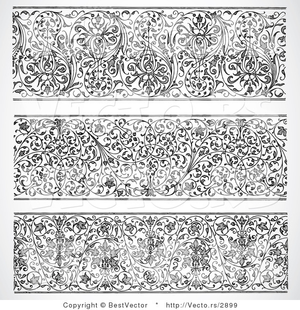 Vector of 3 Unique Header Vines - Black and White Digital Collage Designs