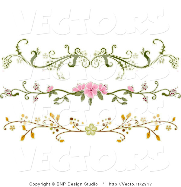 Vector of 3 Unique Ornate Floral Rule Dividers - Digital Border Collage