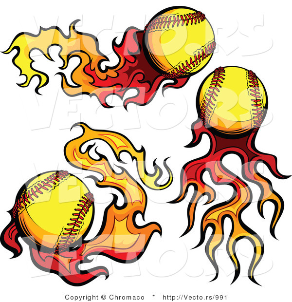 Vector of 3 Unique Softballs on Fire