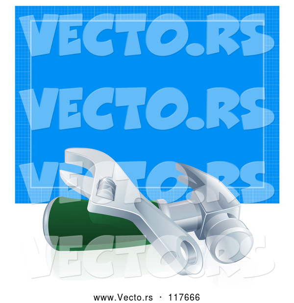 Vector of 3d Adjustable Wrench and Hammer in Front of Blueprint Paper