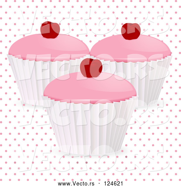 Vector of 3d Cherry Cupcakes over Polka Dots