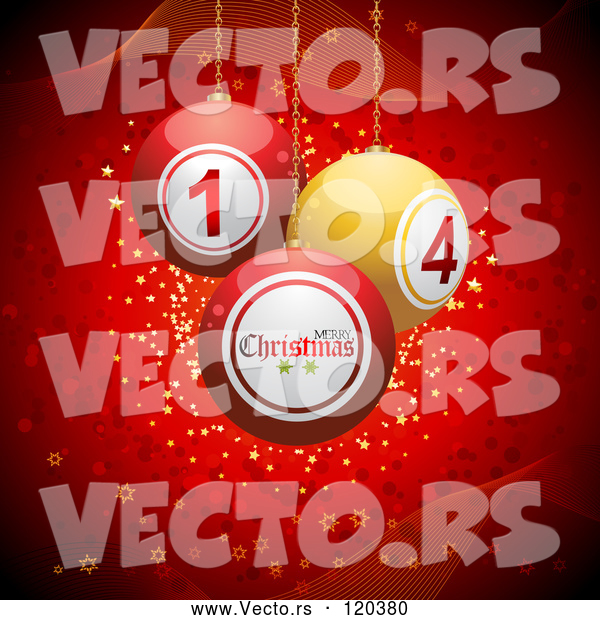 Vector of 3d Christmas Disco Balls Suspended over Red with Waves and Stars