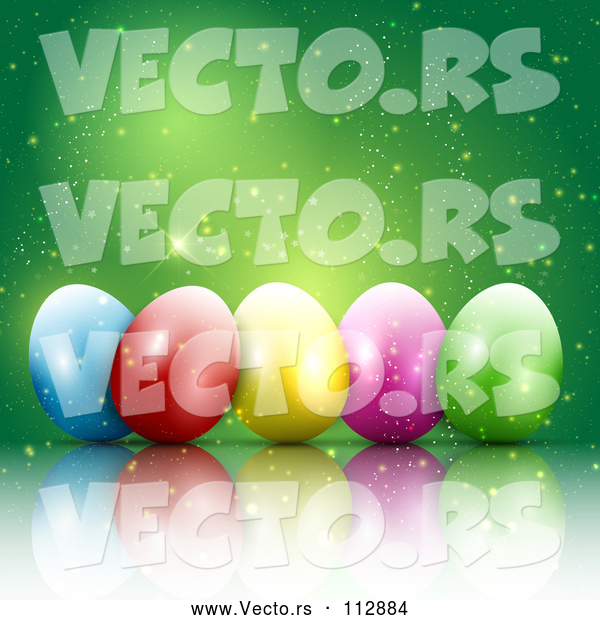 Vector of 3d Colorful Easter Eggs with Magic Sparkles on Green