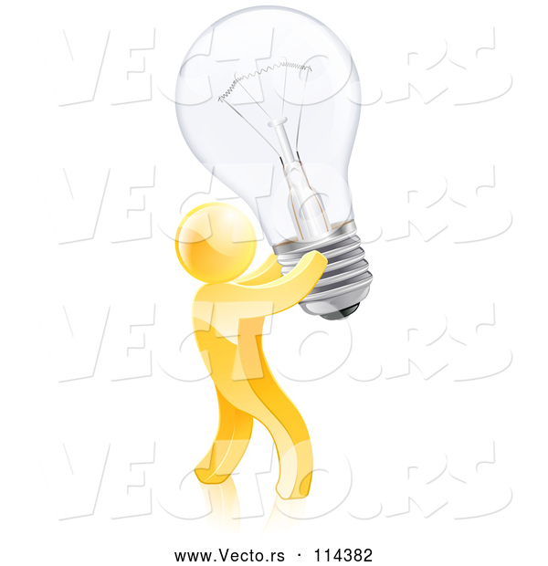 Vector of 3d Creative Gold Guy Carrying a Light Bulb