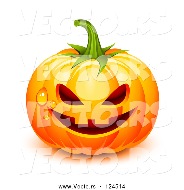 Vector of 3d Dewy Jackolantern Halloween Pumpkin
