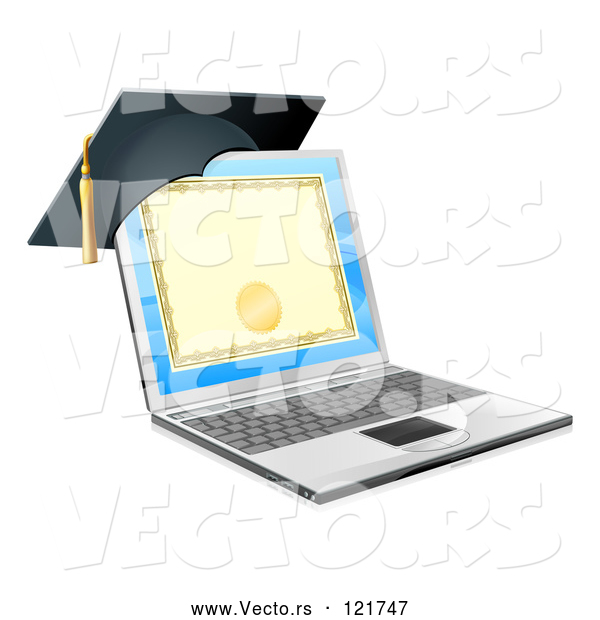 Vector of 3d Diploma or Degree on a Laptop Screen with a Graduation Cap