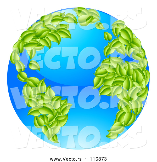 Vector of 3d Earth with Leaf Continents, Featuring the Atlantic