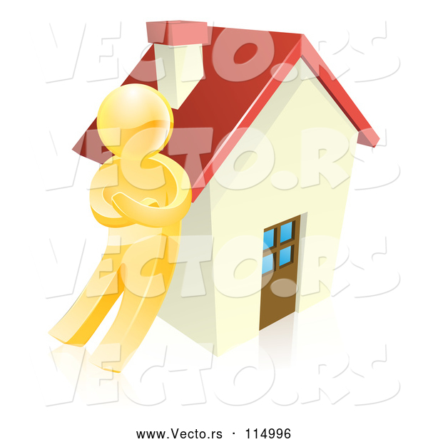 Vector of 3d Gold Guy Leaning Against a House