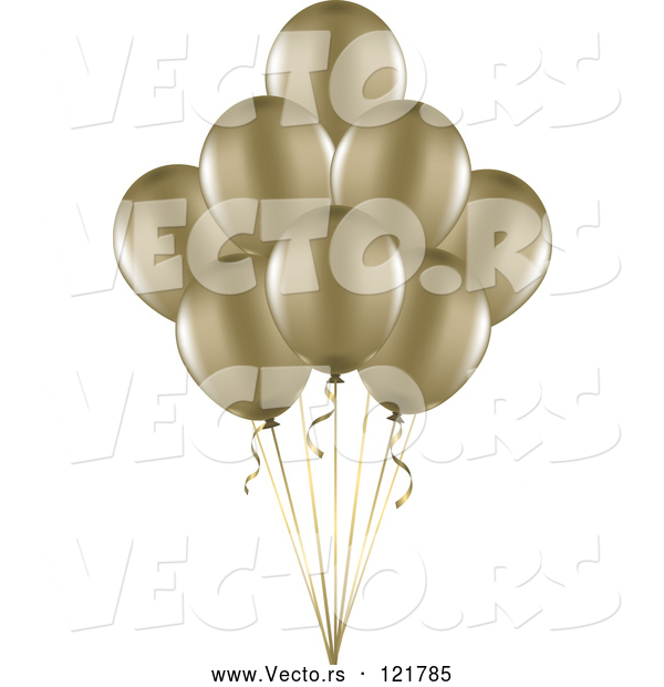 Vector of 3d Gold Party Balloons and Ribbons
