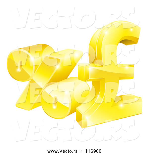 Vector of 3d Gold Percent and Pound Sterling Currency Symbols