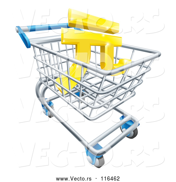 Vector of 3d Gold Yuan Currency Symbol in a Shopping Cart