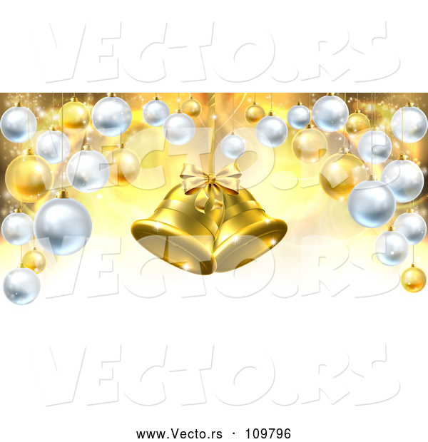 Vector of 3d Golden Christmas Bells Suspended over a Background with Baubles