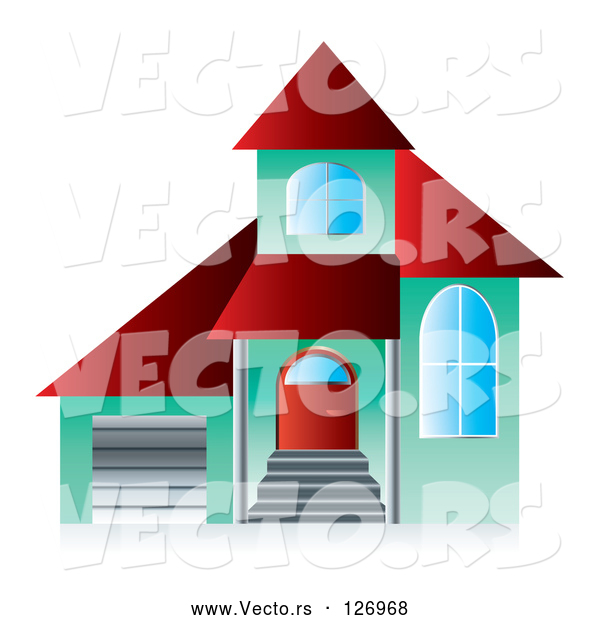 Vector of 3d Green and Red Home Page App Button