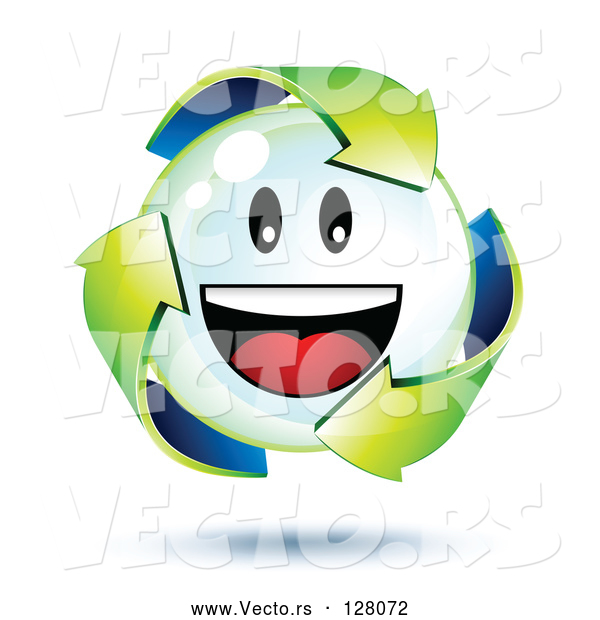 Vector of 3d Green Recycle Arrows Around a Smiley Face Bubble