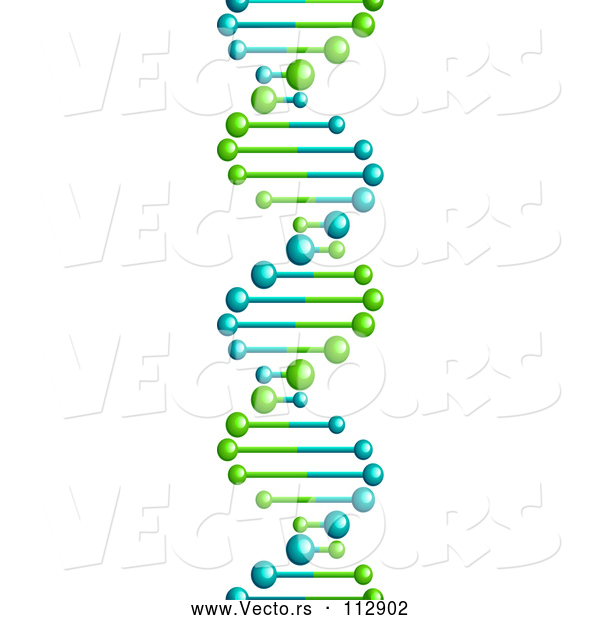 : Vector of 3d Lime Green and Blue Dna Double Helix Cloning Strand