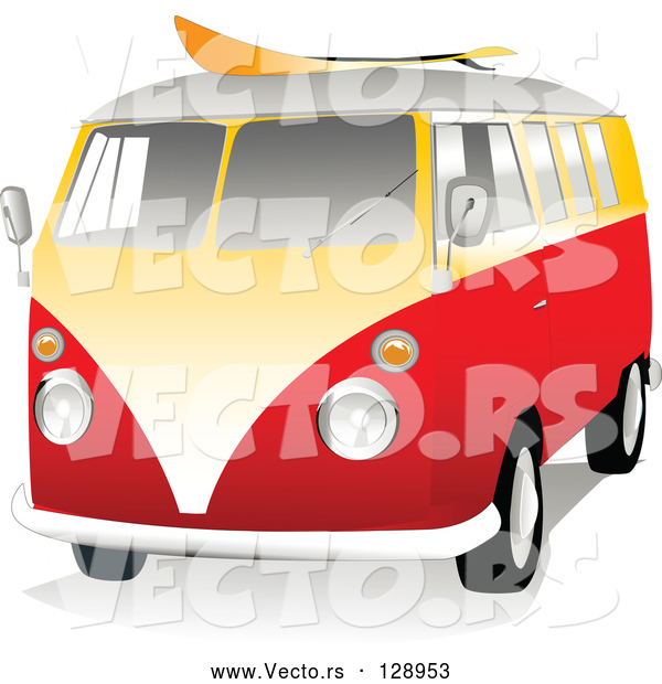 Vector of 3d Orange and Yellow VW Van with a Surf Board on the Roof