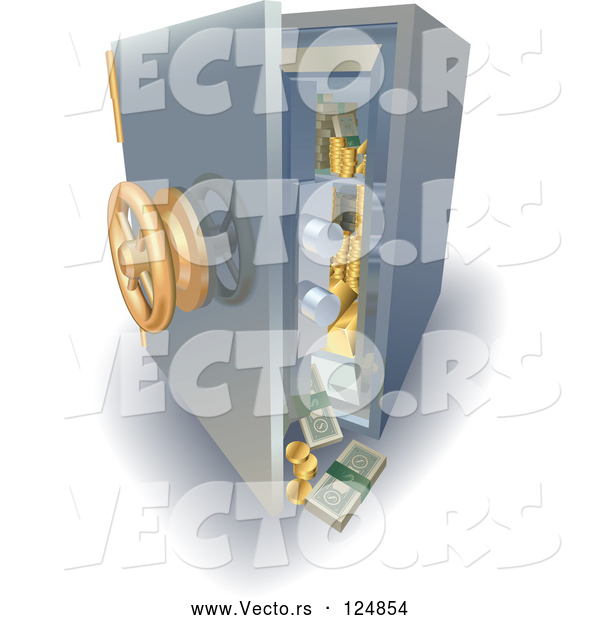 Vector of 3d Safe with Money and Gold Falling out