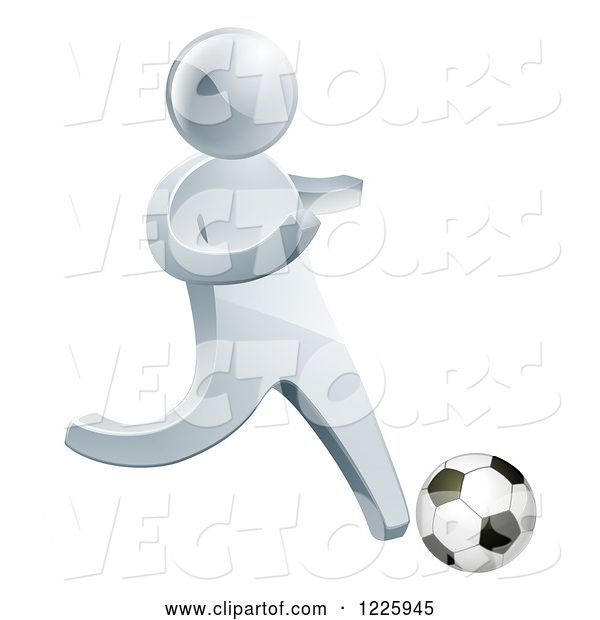 Vector of 3d Silver Guy Playing Soccer