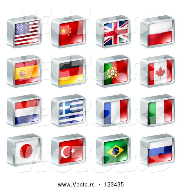 Vector of 3d Square Flag Icons with Chrome Edges