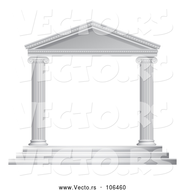 Vector of 3d White Ancient Roman or Greek Temple with Pillars Frame
