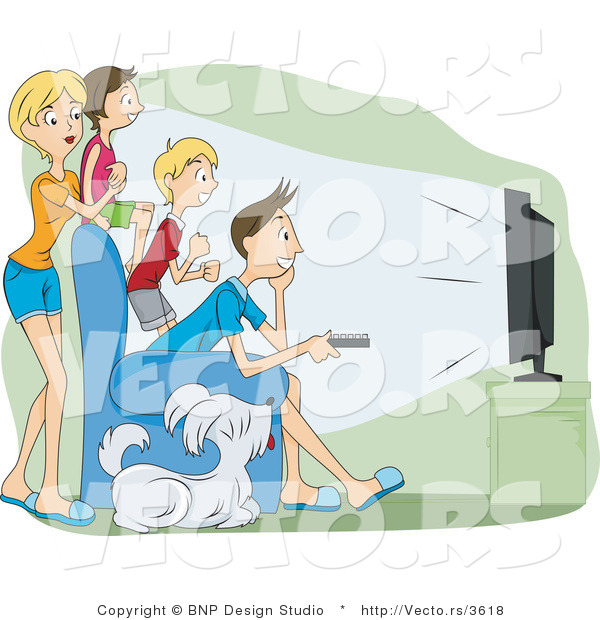 Vector of 4 Family Members and Their Dog Watching Television in a Theater Room