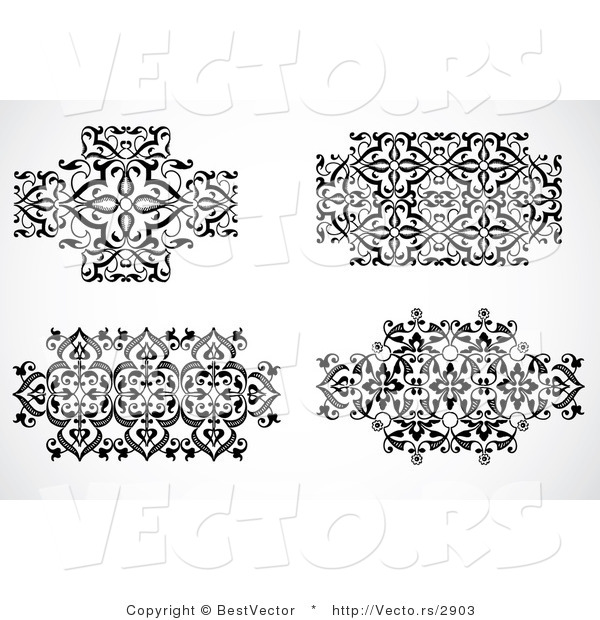 Vector of 4 Unique Floral Icon Patterns - Decorative Black and White Web Design Elements