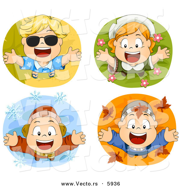 Vector of 4 Unique Happy Seasonal Kids - Cartoon Styled Digital Collage