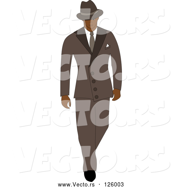 Vector of 40s Styled Black Business Man Walking in a Blue Suit