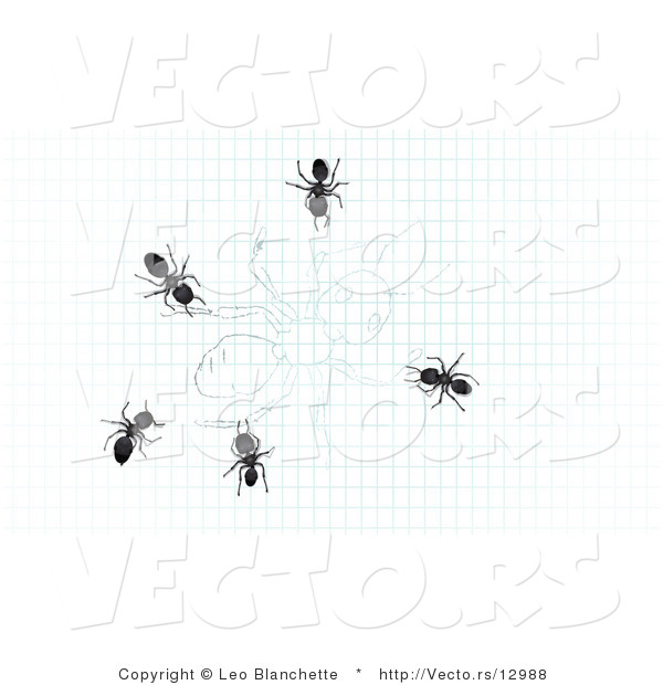 Vector of 5 Ants Crawling over Drawing of an Ant on Graph Paper