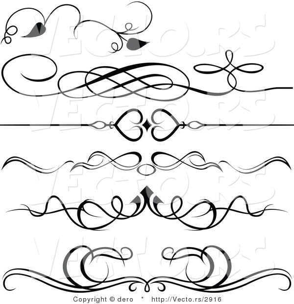 Vector of 6 Unique Black and White Ornate Rules and Borders - Digital Collage