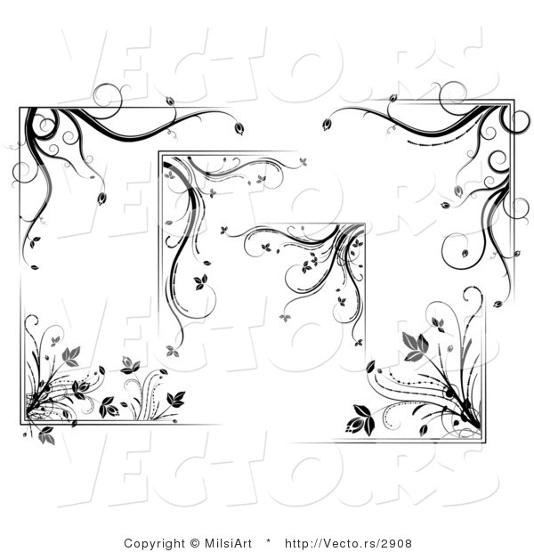 Vector of 6 Unique Floral Corners and Borders - Digital Collage Design Elements