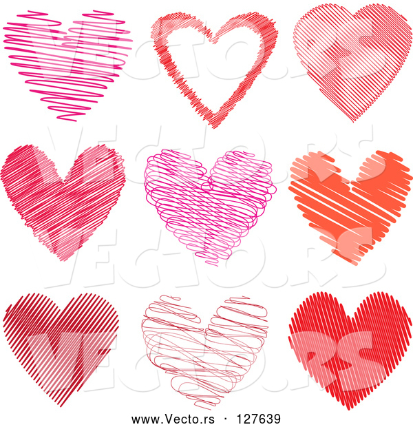 Vector of 9 Scribble Hearts in Pink and Red - Digital Collage