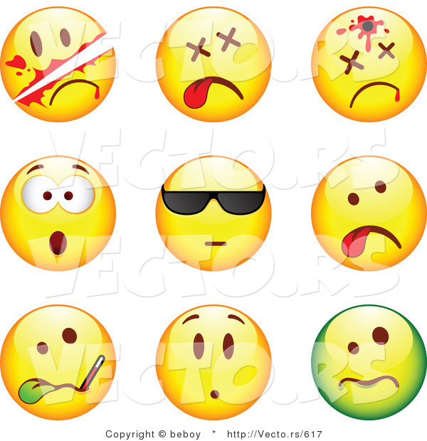 Vector of 9 Smileys; Killed, Bullet to the Head, Shocked, Cool, Ill, Upset