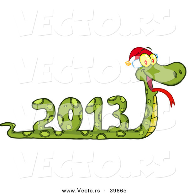 Vector of a 2013 Snake Wearing a Santa Hat
